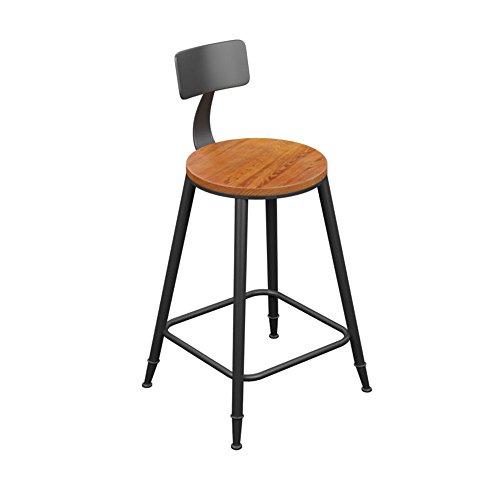 JU FU -Tabouret de bar Chaise de bar, bois massif + fer forgé tabouret simple chaise haute, noir chaise de bureau avec dossier 34 * 34cm 6 siège en option non-rotation et levage @