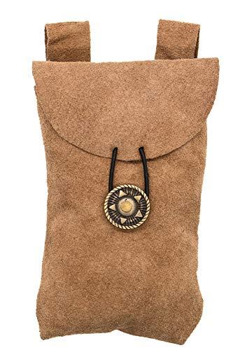 Mythrojan Medieval Renaissance Suede Jewelry Belt Pouch LARP Costume Waist Bag - Brown
