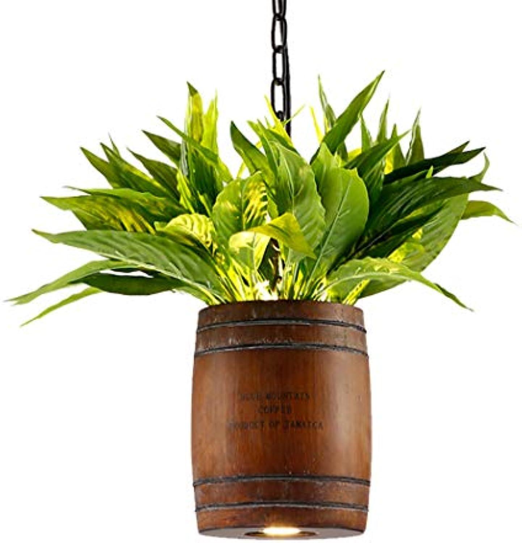 LeiLight Kreativer einfacher KronleuchterAmerikanischen Land Pendelleuchte Kaffee Barrel Holz Kunst Künstliche Grüne Pflanze Kronleuchter Kreative Insel Pendelleuchte für Küche Esszimmer