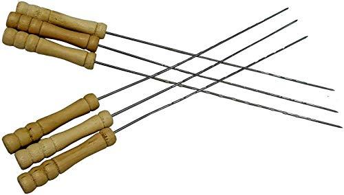 Pinchos de barbacoa con mango de madera para parrilla de barbacoa de 14.5 pulgadas de largo (50 piezas)   Parrilla Tandoor   Palo de pollo de acero inoxidable   Palo Tandoor  