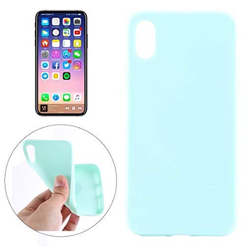 Wckxy Caso HNZZ teléfono for el iPhone X/XS Color sólido de Superficie Lisa Caso de la contraportada de TPU Protectora Suave (Color : Mint Green)