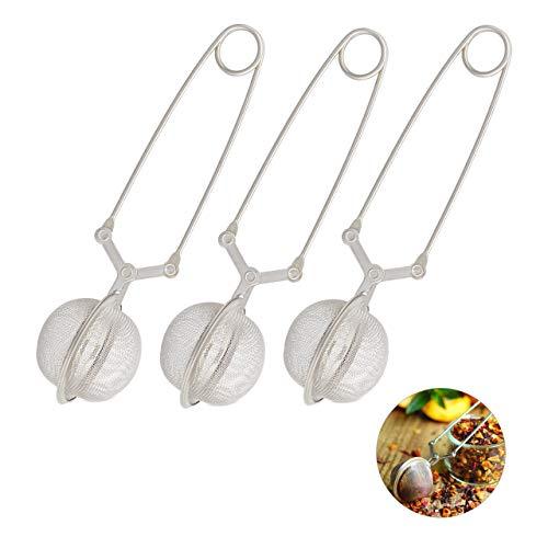 Relaxdays Teezange, 3er Set, Teesieb für losen Tee, Edelstahl, Kugelform, Tassen & Gläser, engmaschig, Ø 4 cm, silber