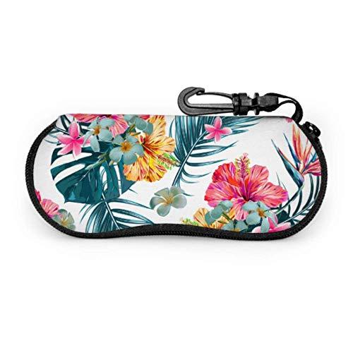 Fundas de gafas Juventud Tropical Jungle Palm Bird Ultra Ligero Neopreno con Cremallera Almacenaje Lente Suave Sunglasses Case 8 * 17cm
