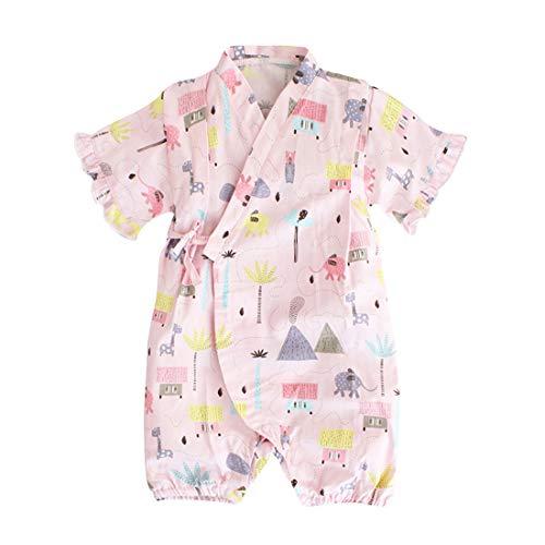 Bebé Kimono Túnica Mameluco Algodón Orgánico Bebé Cómodo Suelto Pijama Japonés Rosa 55 9-18 Meses