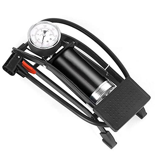 Luftpumpe Mit Druckmesser,Single Double Cylinder Inflator Hochdruck-Fußpedal Luftpumpe MTB Rennrad Fahrrad Auto Aufblasbare Singlecylinderpumpe