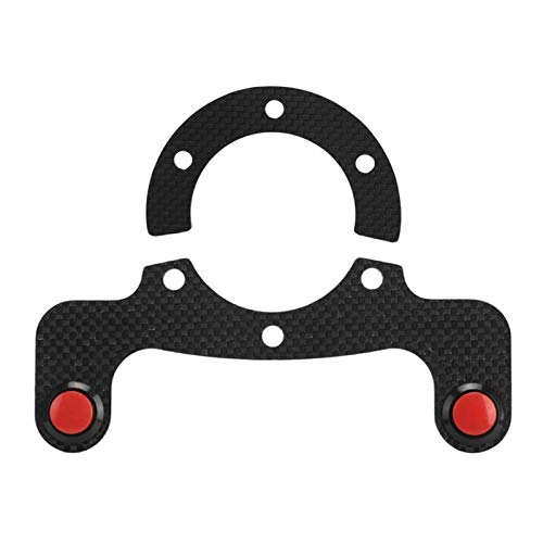 zhuzhu Kits de botón de Cuerno Externo Ajuste para Momo/OMP/NARDI/SPARCO 6 Pernos Volante Molduras Interiores Acrílico + Accesorio de Fibra de Carbono (Color Name : Dual Button)