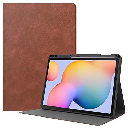 Lobwerk Funda para Samsung Galaxy Tab S6 Lite SM-P610 P615 de 10,4 pulgadas, funda fina con función atril y función de encendido y apagado automático, color marrón