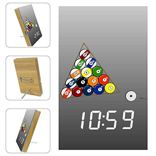 Nananma Digitaler LED-Wecker mit weißem Billiard-Grafikdruck, USB-Ladeanschluss, Sleep-Timer, Anzeige von Datum, Temperatur