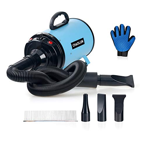 CHAOLUN Dog Dryer High Velocity Professional Pet Dog Blow Dryer 3.2HP - Dog Hair Grooming Dryer with Heater, Stepless Adjustable Speed, 3 Different Nozzles, a Comb & Pet Grooming Glove, Sky