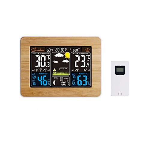 Leobtain Drahtloser Wetterstationssensor Mit Digitalem Temperatur Feuchtigkeits Wecker Barometer Temperatur und Feuchtigkeits Monitor Farbdisplay Wetterstation