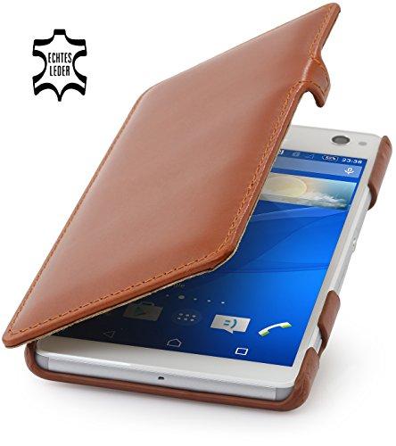 StilGut Book Type Hülle mit Clip, Hülle aus Leder für Sony Xperia C4, Cognac