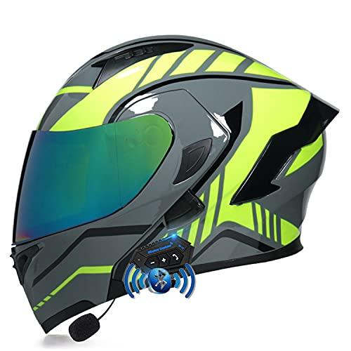 LPXPLP Casco De Moto Modular Bluetooth Integrado, con Doble Visera Cascos De Motocicleta, Casco Integral ECE Homologado, Transpirable Y Cómoda, para Mujeres Y Hombres T,M