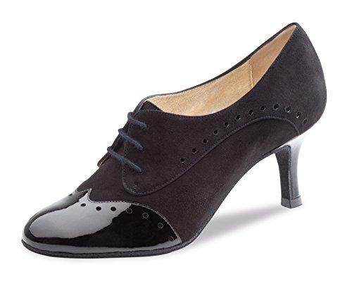 Nueva Epoca - Dames Tango/Salsa dansschoenen Karen - suède/lak zwart - 6 cm