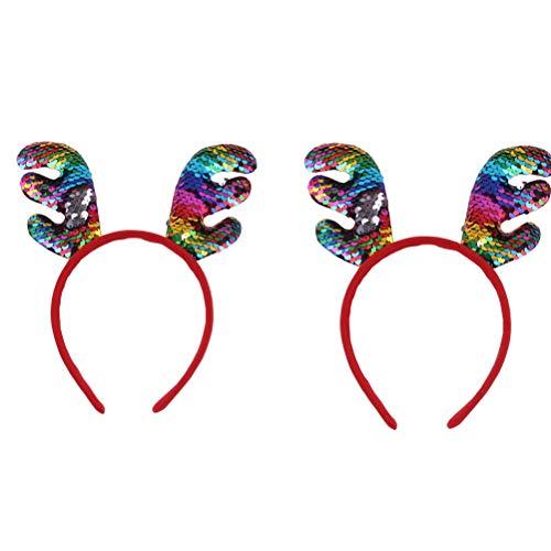 2 stuks grote gewei hoofdband kleurrijke pailletten rendierhoorn haarband glitter kerstfeest voor kinderen, stijl 4