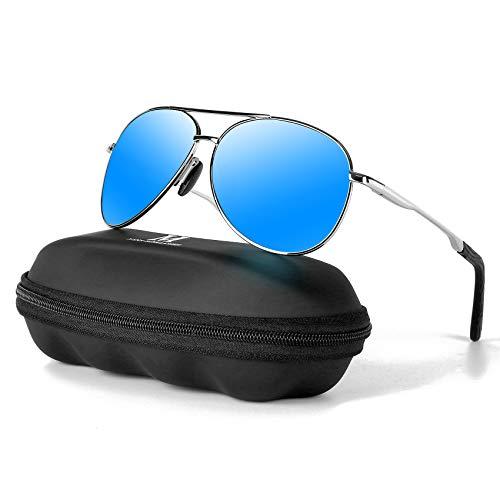 MXNXEU Sonnenbrille Herren Pilotenbrille Polarisiert Pilotenbrille Polarisierte Sonnenbrille Herren Outdoor Pilot Unisex UV400 Fahren Sonnenbrille-Blau/Silber
