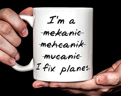 DKISEE Taza de café con diseño de avión I Fix Planes | divertida taza de café mecánica de aviación