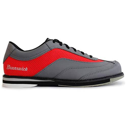Brunswick Bowling Products Rampage Bowlingschuhe für Herren, rechte Hand, Größe M, US, Grau/Rot, Größe 45