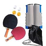 Juego de tenis de mesa portátil, juego de raqueta de ping-pong para entrenamiento de tenis de mesa con red retráctil y poste, 2 palas y 4 pelotas de ping-pong