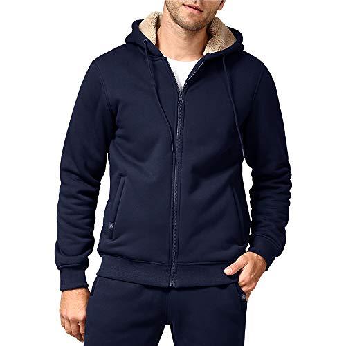 Men's Fleece Jackets Hoodies Casual Sherpa Lined Sweatshirts with Zipper Pockets Sweater(EN1735Blue L)