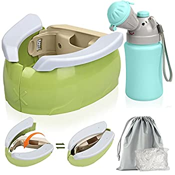 ICNOW Portable Potty for Toddler Travel,Potty Training Seat,Urinal and Kids Portable Folding Toilet Chair Seat with 100 Potty Liner for Camping Car Travel