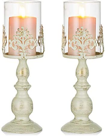 Nuptio Pcs of 2 Vintage Metal Pillar Candle Holder Antique Hurricane Candlestick with Glass product image