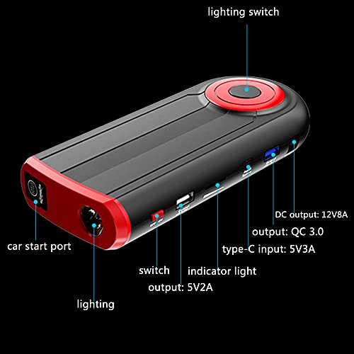 TOTMOX 12 V 12000 mAh Auto batería Booster Jump Starter Pack con adaptador universal abrazaderas cargador, 3 modos de iluminación dual USB y QC 3.0 puerto de carga de arranque