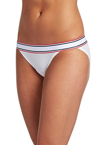 Jockey Women's Underwear Retro Stripe String Bikini, White, M