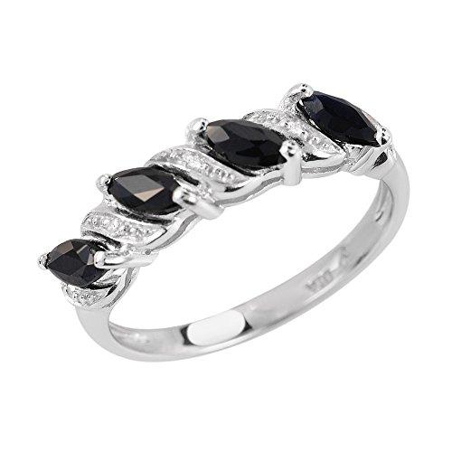 Ivy Gems Donna 925 argento Marquise nero Zaffiro