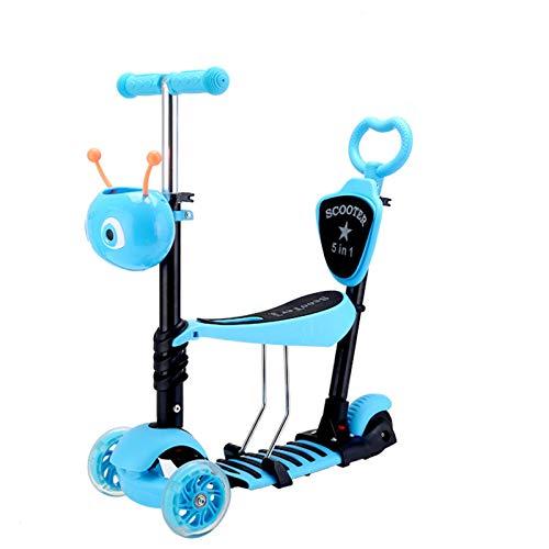 Scooter plegable de asiento para niños 5-en-1 Kick Scooter 3 Ruedas Con Asiento Ajustable Y Desmontable Manija De Empuje Cubierta Ancha De La PU Intermitente Ruedas Para Niños De 3-8 Años Scooter de l