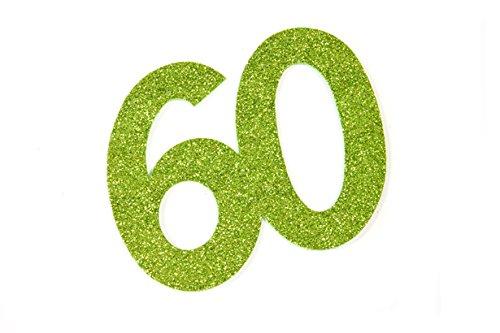 Paillettes de Jubilé chiffres, autocollant, Nombre '60', vert pomme, 12 x 10 cm, Lot de 2