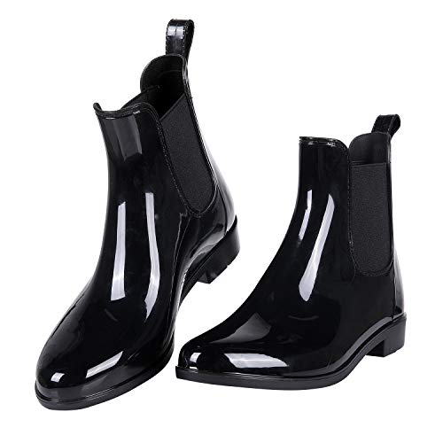Evshine Women's Short Ankle Rain Boots Lightweight Chelsea Rain Boots Rubber Waterproof Booties BK(US8,EU39) Black