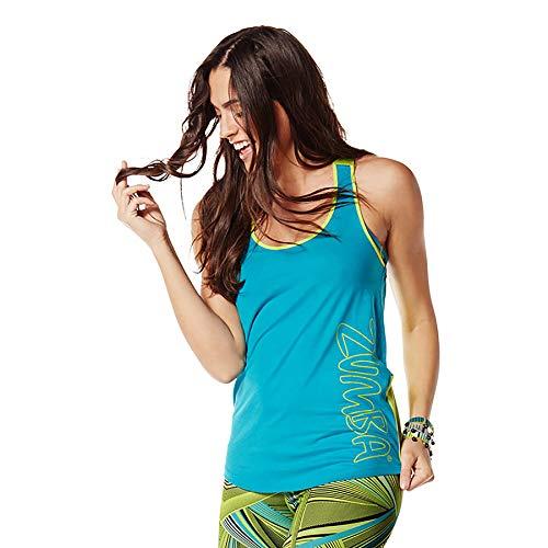 Zumba Activewear Backless Top Deportivo Dance Fitness Camisetas de Entrenamiento, Teal, X-Small