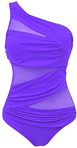 EUDOLAH Damen One Shoulder Einteilige Gaze Badeanzug Bikini Set (Medium, lila)