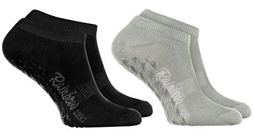 Rainbow Socks - Damen Herren Sneaker Antirutsch Socken ABS - 2 Paar Grau Schwarz - Größen 44-46