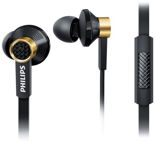 Philips TX2BK/00 Kopfhörer mit Mikrofon und Premium-Treiber (ovale Schallröhre, 3 Ohrkappentypen), In-Ear schwarz/gold