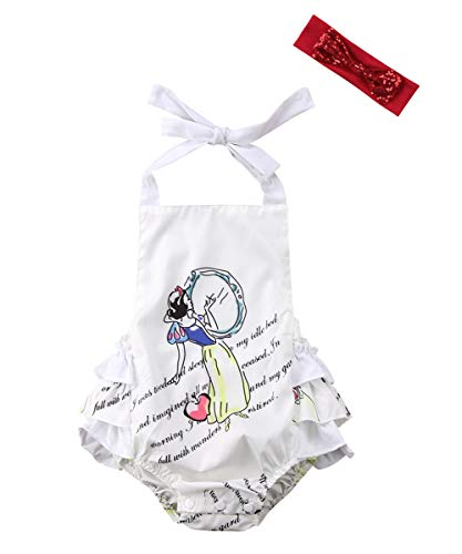 Abee Newborn Baby Girl Beauty and The Beast Ruffle Sleeve Romper Bodysuit Jumpsuit Outfts Clothes (White, 0-6 Months)