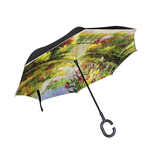 Rode Monet Painting voor regenparaplu voor buiten, winddicht, met handgreep in C-vorm en omgekeerde drank.