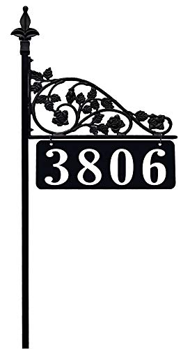 Rose Reflective Double Sided Address Sign with 47' Pole. Easily Seen Day and Night. No Batteries, Electricity Or Solar Cells Required