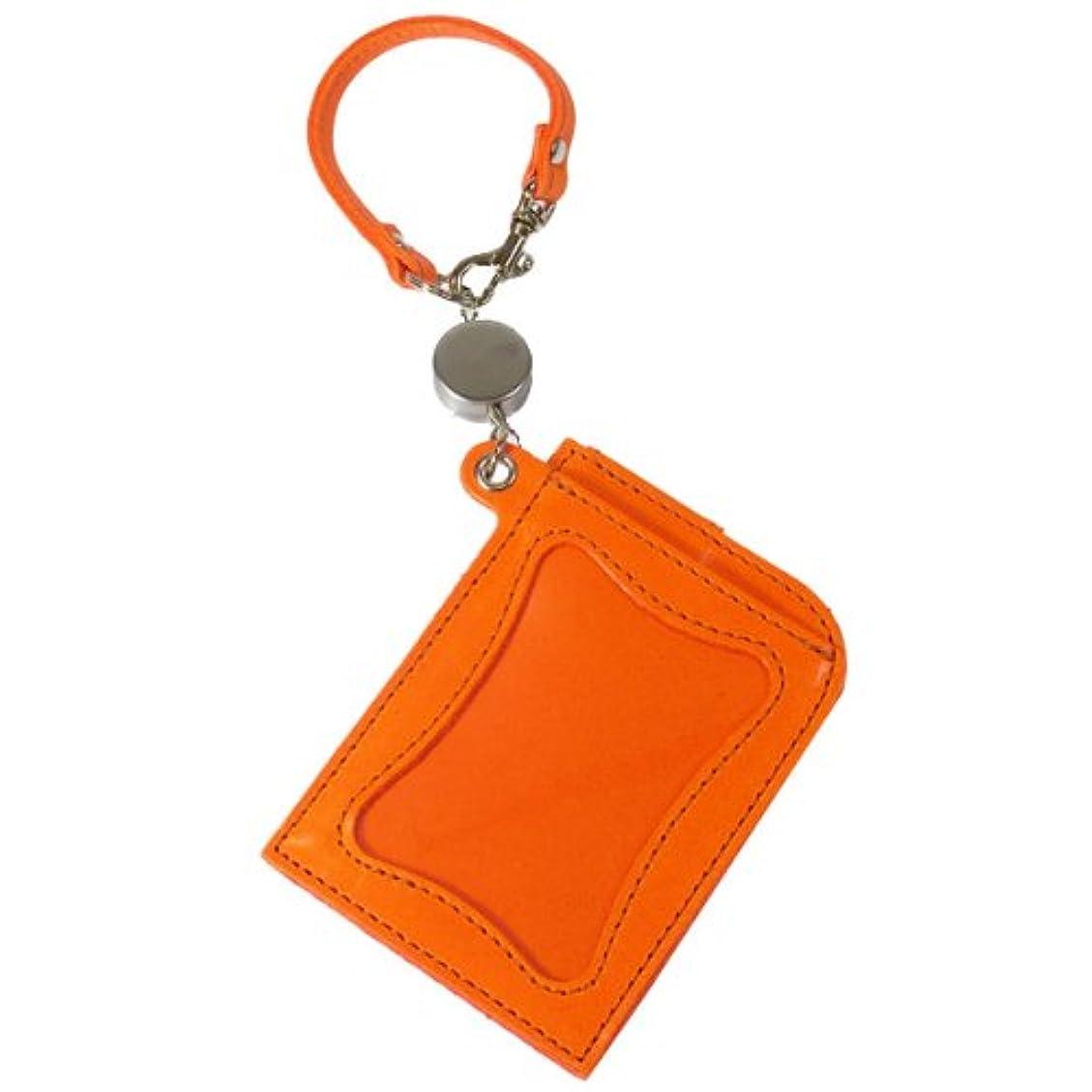 爬虫類納税者アジリティ ブライドルレザーシーク パスケース Agility 便利なリールコード付き IC定期券対応パスケースパスケース リール 牛革 ビビッドカラー 日本製 オレンジ