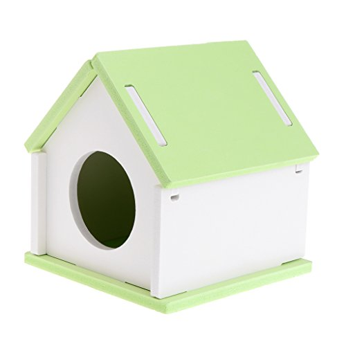 Jaula de madera para hámster, para mascotas, cobayas, ardillas, gerbil, juguete nido verde
