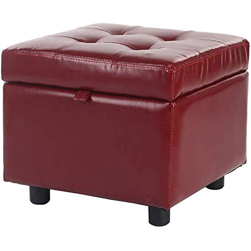 GAKIN Pouffes de almacenamiento para el hogar, color rojo vino, tapizado en poliuretano, 1 unidad