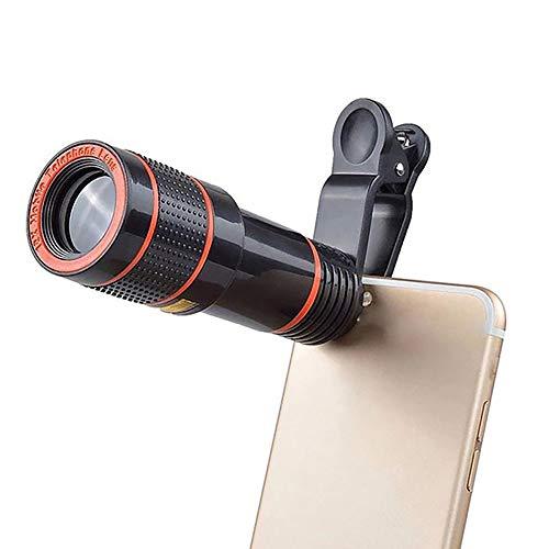 TORENG Telescopio monocular para Smartphone 12x Zoom Óptico Zoom Lente Monocular Teléfono Móvil Cámara Lente para Camping Caza Deporte