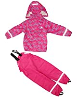 Boys & Girls Kids Raincoat Jacket with Pants Waterproof Reflective Children Hooded Rainwear Set (Cerise/Girls, 104/4year)