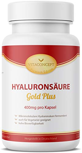 Hyaluronsäure Kapseln Hochdosiert - 120 Stück (4 Monate), Hyaluron 500-700 kDa - 400 mg pro Kapsel - Laborgeprüft, Vegan, Hergestellt in Deutschland