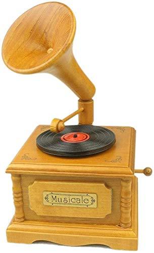 HRYBD geschenken muziekdoos, houten muziekdoos, retro platenspeler verjaardagscadeau voor verjaardag geschenkdoos muziekbox (kleur: voor elise, maat: Free)