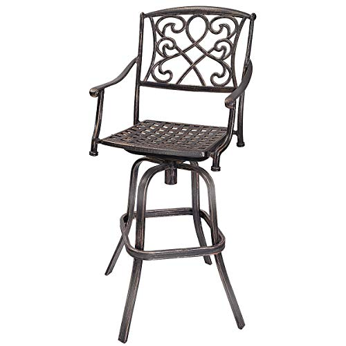 COSTWAY Cast Aluminum Swivel Bar Stool, Patio Furniture in Antique Copper Design with Long Use Life, Outdoor Bar Mesh Chair with Backrest, Armrest, Footrest, 360°Swivel Seat