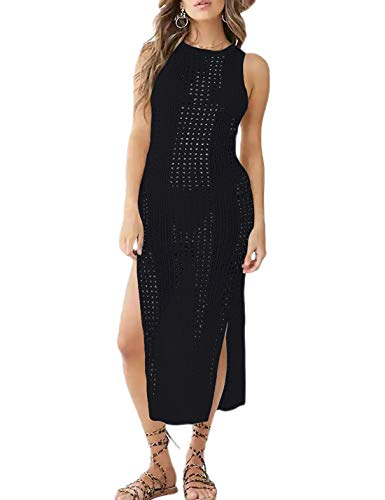 Ailunsnika Black Crochet Knitted Sleeveless Tank Beach Dress Womens Hollow Out Side Slit Swimsuit Cover Ups