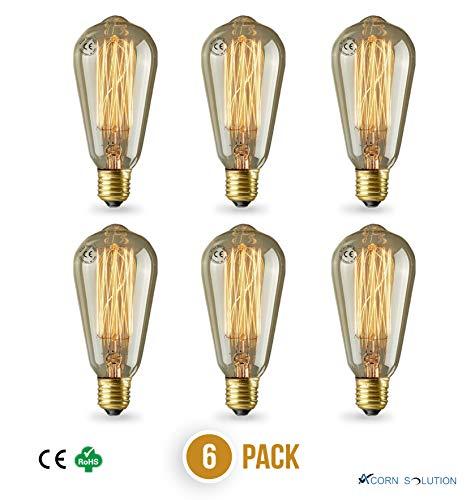 AcornSolution Vintage Edison-Glühbirne, freiliegender Filament,Tropfenform, Eichhörnchenkäfig-Stil, mittlere Basis,Vintage Edison,ST58,E27,40W-6Pack