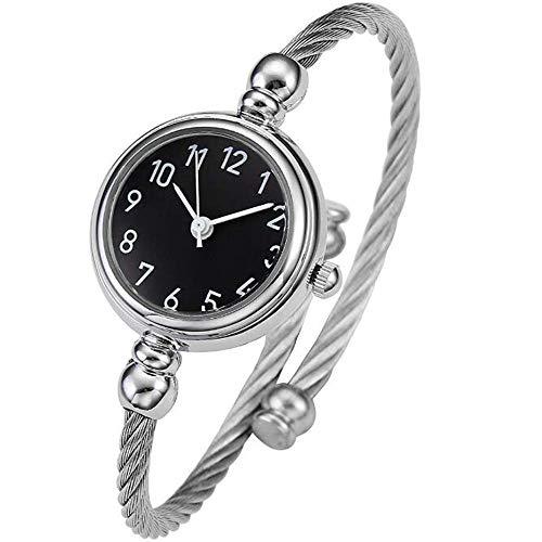 Cestbon Reloj Reloj Brazalete Relojes Elegante de Las Mujeres de la Vendimia Las Pulseras de Reloj Pulsera Redonda Reloj de Cuarzo para Las Mujeres Kleideruhr,Plata