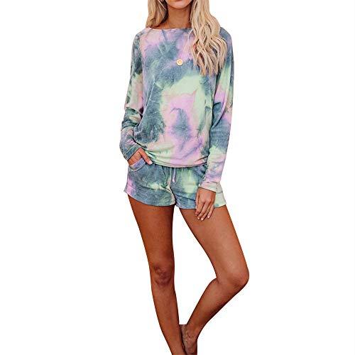 Traje de Verano con Estampado de algodón con Estampado de algodón Casual con Cordones para Mujer, Camiseta de Manga Larga de Dos Piezas